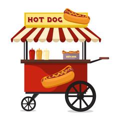 Hot dog fast food shop street cart city flat vector.