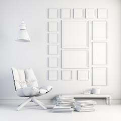 3d render of beautiful white interior