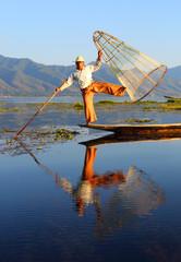 Traditional fisherman at Inle lake in Myanmar
