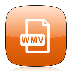 wmv file orange square web design glossy icon