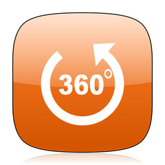 panorama orange square web design glossy icon