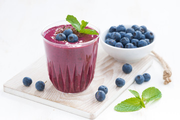 blueberry milkshake with mint and chocolate