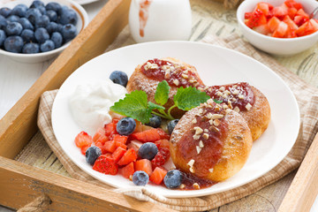 cottage cheese pancakes with fresh berries and cream