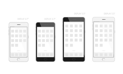 Smartphone black and white design display size 4.7 and 5.5 inches mock up, screen template illustration isolated on white background