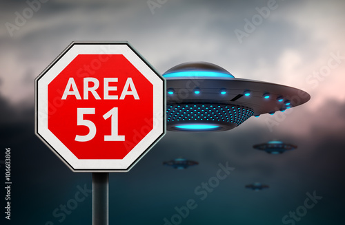 Area 51 sign  UFO flying sausers in background