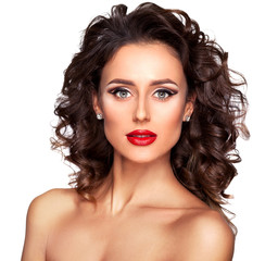 Closeup portrait of beautiful nude fashion female model