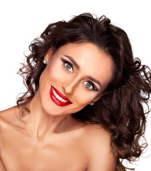 Beauty shot of a smiling long haired, beautiful brunette woman