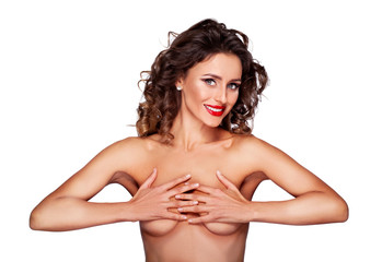 Pure Naked Beautiful Sexy Woman Holds Chest By The Hands