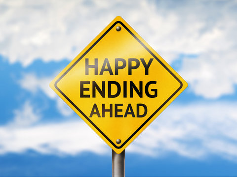 Happy ending ahead road sign. Blue sky and yellow traffic sign
