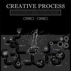 line drawing of concept of creative process vector graphic in bl