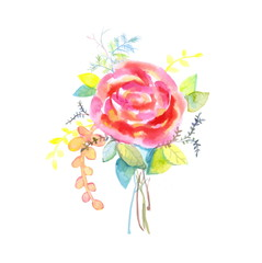 Bouquet of roses, watercolor, can be used as greeting card, birthday and other holiday and summer. Vector illustration
