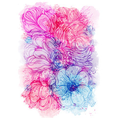 bright pink purple background with watercolor stains and bouquet of flowers. Vector illustration