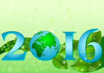 Postcard on April 22 - Earth day. 2016 with Earth globe and green leaves on green bokeh background