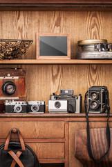 Photographer's Vintage Workplace. Vintage cameras. Vintage atelier.