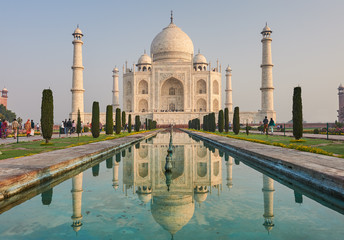 Fototapete - Taj Mahal India, Agra. 7 world wonders. Beautiful Tajmahal trave