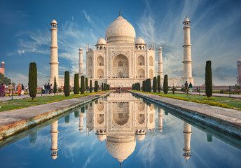 Deurstickers India Taj Mahal India, Agra. 7 world wonders. Beautiful Tajmahal trave