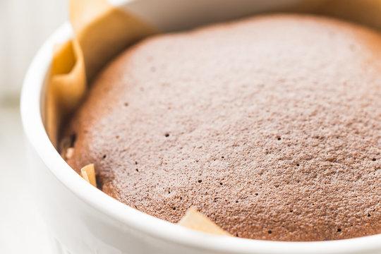 Chocolate fondant in the ramekin horizontal