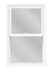Double hung window vector isolated. Traditional English or American lifting, slider window, exterior view.