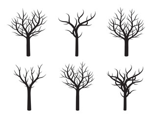 Set of Black Trees without Leafs. Vector Illustration.