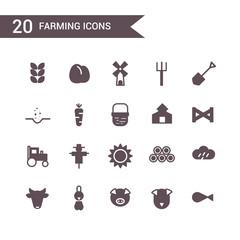 farm icon set vector.Silhouette icons.