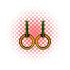 Gymnastic rings icon, comics style