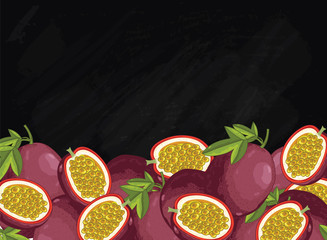 Passion fruit on chalkboard background. Passion fruit composition, plants and leaves. Organic food. Summer fruit. Fruit background for packaging design.