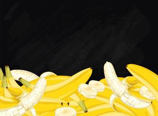 Banana on chalkboard background. Banana composition, plants and leaves. Organic food. Summer fruit. Fruit background for packaging design.