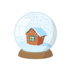 Snow globe icon, cartoon style