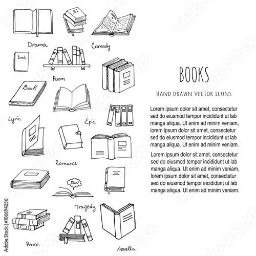 hand drawn doodle books reading set vector illustration sketchy book