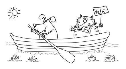 Dog and cat in the boat, black-white drawing