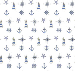 Seamless background Hand drawn doodle Boat and Sea icons set Vector illustration Sea travel element Ship symbols collection Nautical design Lighthouse Compass Anchor Steering wheel Rudder