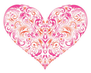 Big Heart Swirl Design isolated on white. Happy Valentines Day Card. Digital background vector illustration.