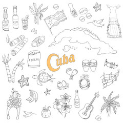 Set of hand drawn Cuba icons, Cuban sketch illustration, doodle elements, Isolated national elements made in vector. Travel to Cuba icons for cards and web pages Caribbean cartoon icons collection