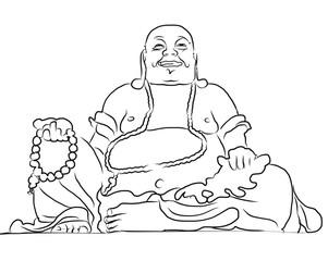 Maitreya Buddha Outline Vector Drawing