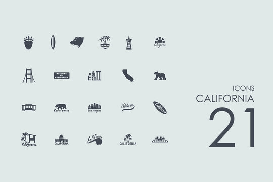 Set of California icons