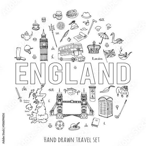 Quot Hand Drawn Doodle England Set Vector Illustration United