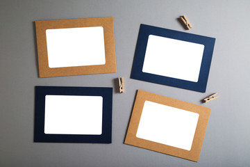 Paper photo frame on a gray background