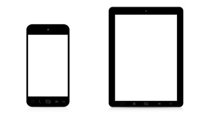 Modern digital phone and tablet on white background