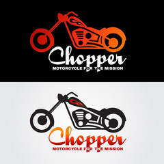Orange white black Chopper motorcycle logo vector design