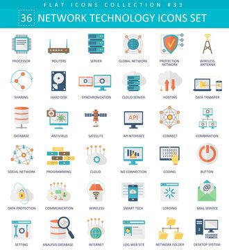 Vector Network technology color flat icon set. Elegant style design.