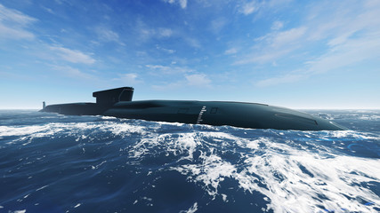 Side view of surfaced russian ballistic missile submarine at open sea. Realistic 3D illustration was done from my own 3D rendering file.
