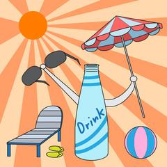 vector cartoon character drink bottle