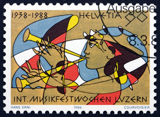 Postage stamp Switzerland 1988 Girl Playing a Shawm