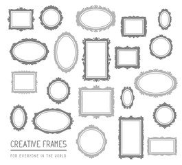 Vector illustration of big set of gray rectangular and oval fram