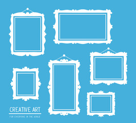 Vector illustration of set of white rectangular frames on blue b