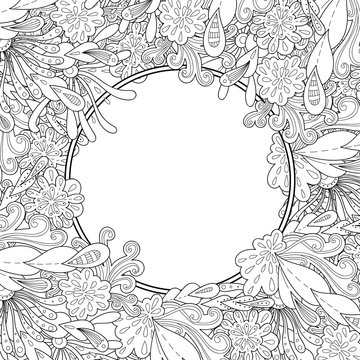 Abstract hand drawn zentangle style vector frame. Doodle art decorative border.