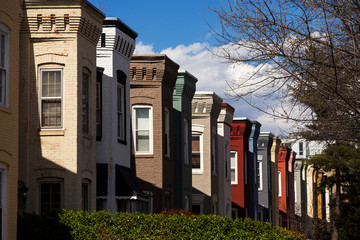 Washington D.C. Row houses on a bright spring day.
