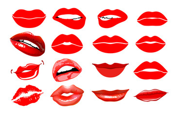 Lips set. design element. Woman's lip gestures set. Girl mouths close up with red lipstick makeup expressing different emotions. EPS10 vector.