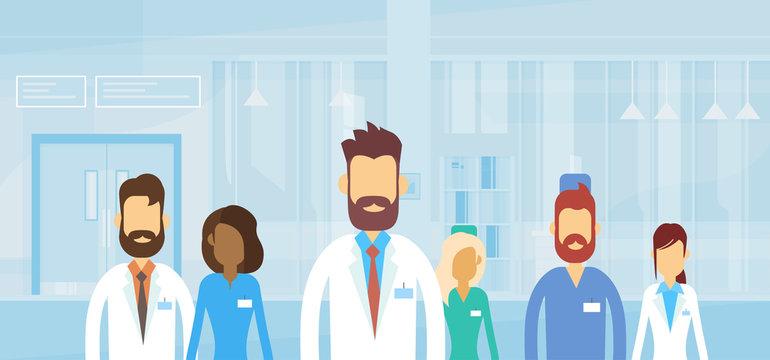 Group Medial Doctors Team Hospital Flat