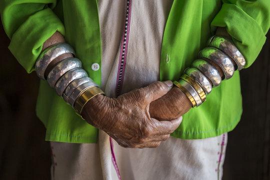 Padaung Tribe's Woman wearing bracelets